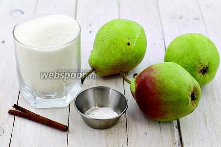 Возьмите такие продукты: груши, сахар, палочку корицы, лимонную кислоту, воду.