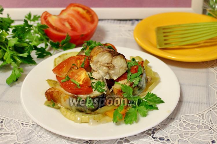 Фото Скумбрия с овощами в духовке