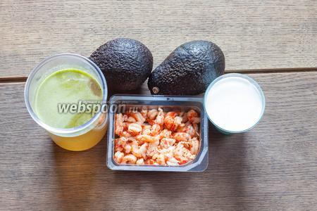 Если все ингредиенты у вас уже готовы, то приготовить такой суп — дело 5-7 минут. На 3 порции нужно 500 мл бульона (овощного или рыбного), 2 сильно перезрелых авокадо, с абсолютно мягкой мякотью, 150 мл кокосового крема или молока (они отличаются по жирности, с кремом — вкуснее, но калорийнее) и 100 г раковых шеек, которые биологически — хвостики. Ну, или креветок. Конечно, если бульона и чищенных ракообразных нет, то время приготовления значительно увеличивается.