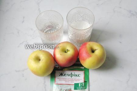 Для приготовления конфитюра из яблок потребуются яблоки, сахар, желфикс и вода.