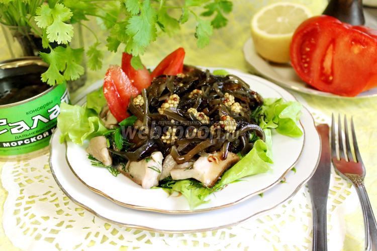 Фото Салат из морской капусты с грибами