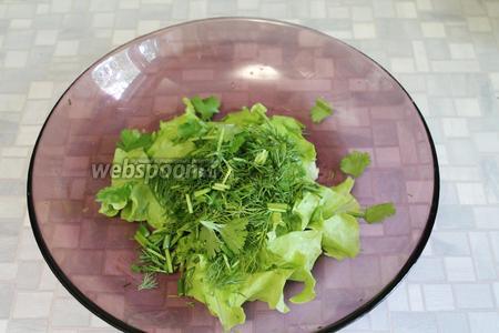 Салатные листья порвать, мелко нарезать зелень петрушки и укропа.