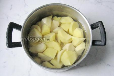 Картофель почистить, помыть и нарезать. Выложить в кастрюлю с водой. Варить до готовности, в конце посолить по вкусу.