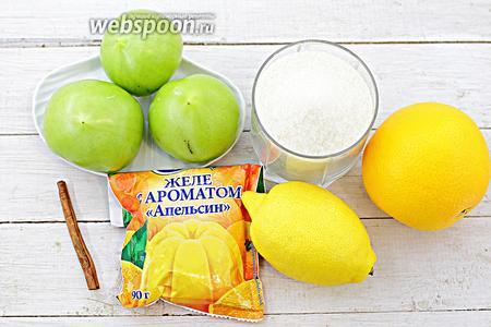 Возьмите такие ингредиенты: помидоры зелёные, апельсин, лимон, апельсиновое желе, сахар, корицу, воду.