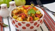Фото рецепта Овощное соте с зелёными помидорами и шампиньонами