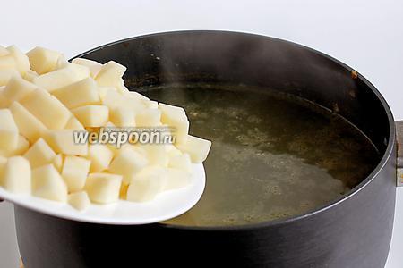 В мясной бульон добавить картофель и разварить его, чтобы остались слегка намечающиеся кусочки.