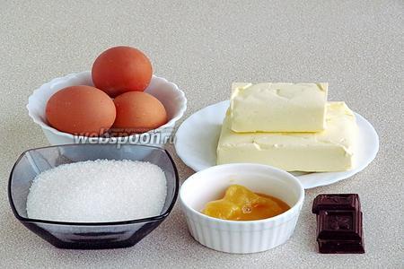 Для приготовления крема нужно взять натуральный мёд, сливочное масло, шоколад, сахар и куриные яйца.