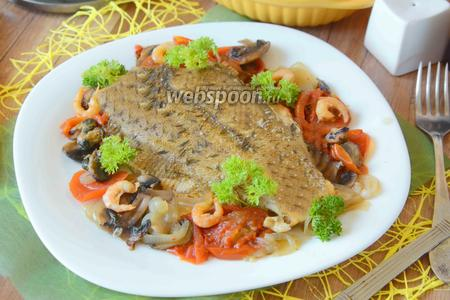 Камбала запеченная в духовке с овощами