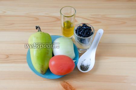 Теперь подготовим начинку, для неё нам понадобится чёрная фасоль, сладкий перец, помидор, репчатый лук, чеснок, немного оливкового масла, соль и тимьян.