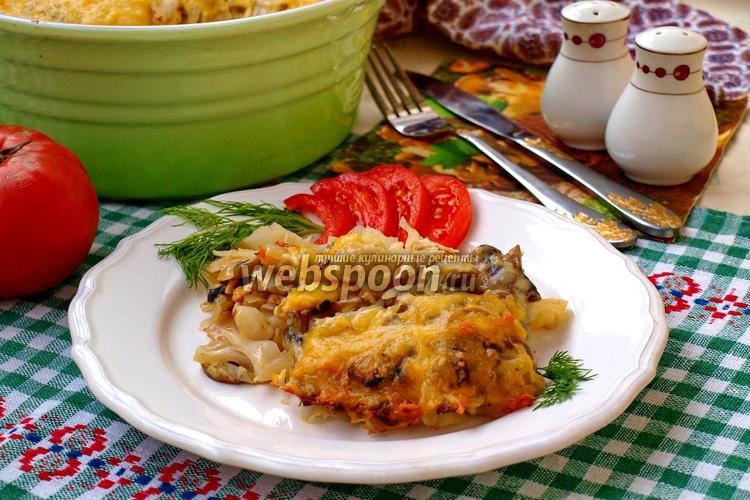 Фото Капуста запечённая в духовке с шампиньонами и курицей
