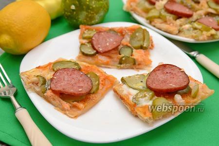 Закуска с колбасой и солёными огурцами