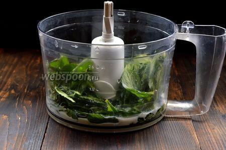 Мяту промыть, оборвать листья, поместить листья в чашу кухонного комбайна (насадка металлический нож) вместе с молоком, подсолнечным маслом и солью.