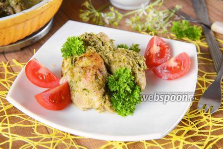 Фото рецепта Курица в кефире с черемшой