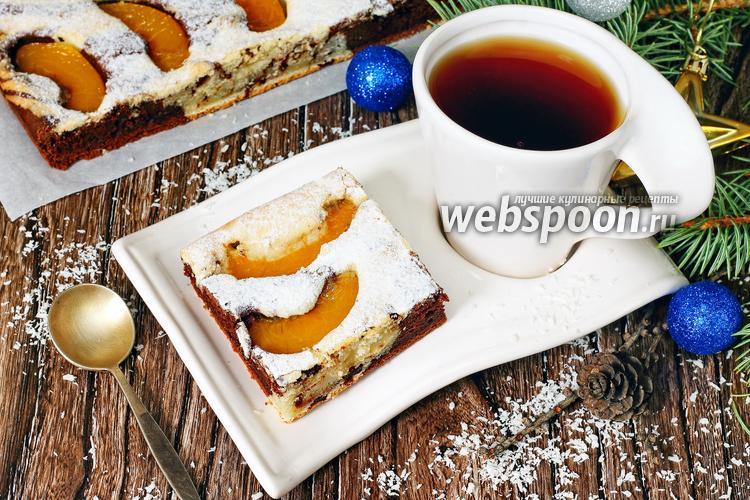 Фото Мраморный пирог с персиками
