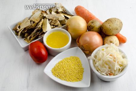 Чтобы приготовить суточные щи, нужно взять воду, сушёные грибы, куриное мясо, картофель, морковь, лук, пшено, помидор, квашеную капусту и масло топлёное, соль.