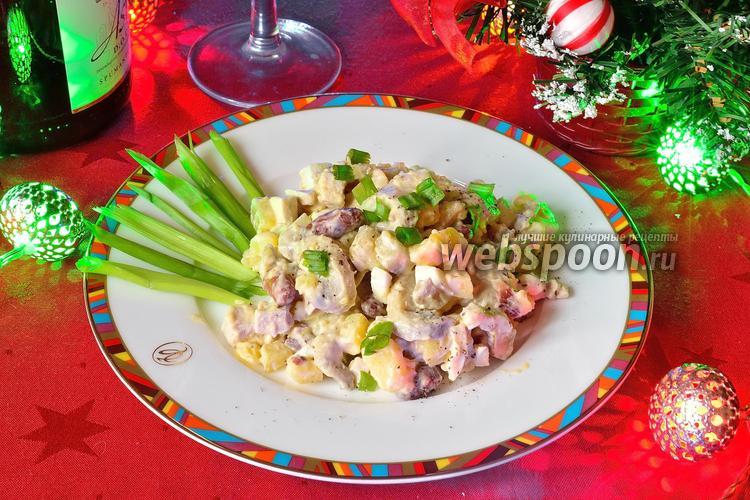 Фото Зимний салат с грибами и фасолью