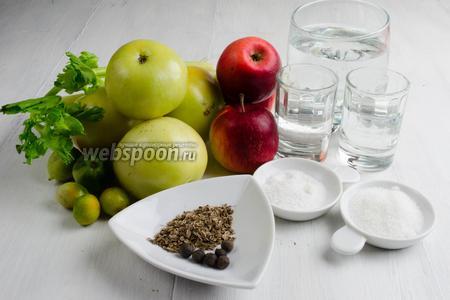 Для консервации нужно взять: зелёные помидоры, небольшие плотные яблоки, стебли сельдерея, семена укропа, душистый перец. Чтобы приготовить маринад, нужно взять воду, соль, сахар, уксус 9 %, водку.