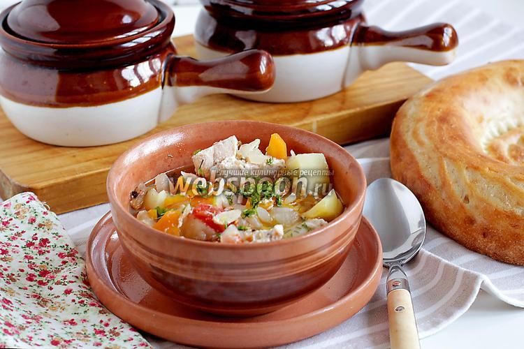 Фото Курица в горшочке с овощами