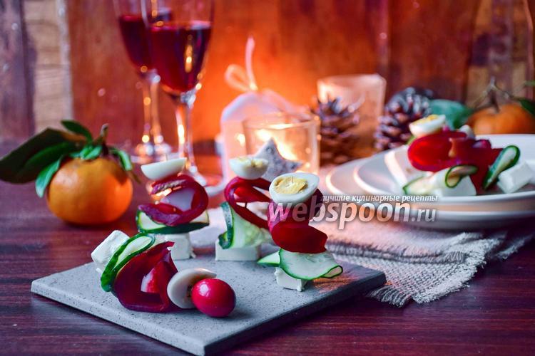 Фото Канапе с крабовым мясом, свёклой и Фетой