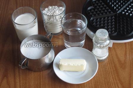 Для приготовления вафель нам понадобится мука, вода, соль, сливочное масло, сливки, сахар и электровафельница.