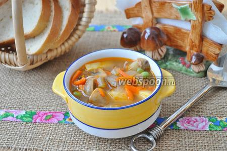Суп из индейки с грибами и горошком в мультиварке