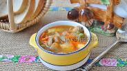 Фото рецепта Суп из индейки с грибами и горошком в мультиварке