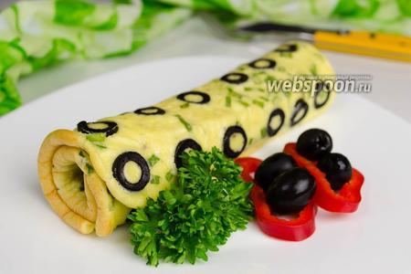 Фото рецепта Омлет с маслинами в духовке