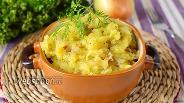 Фото рецепта Картофельное пюре с салом и луком