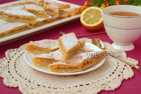 Лимонный пирог на песочно-дрожжевом тесте