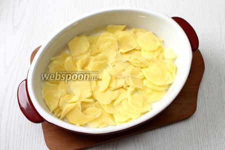 Форму для запекания смазать сливочным маслом. Нарезать тонкими кружками картофель. Я использую для этих целей тёрку для шинковки. Выложить половину в форму.