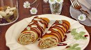 Фото рецепта Блинчики на коньяке с ореховой начинкой