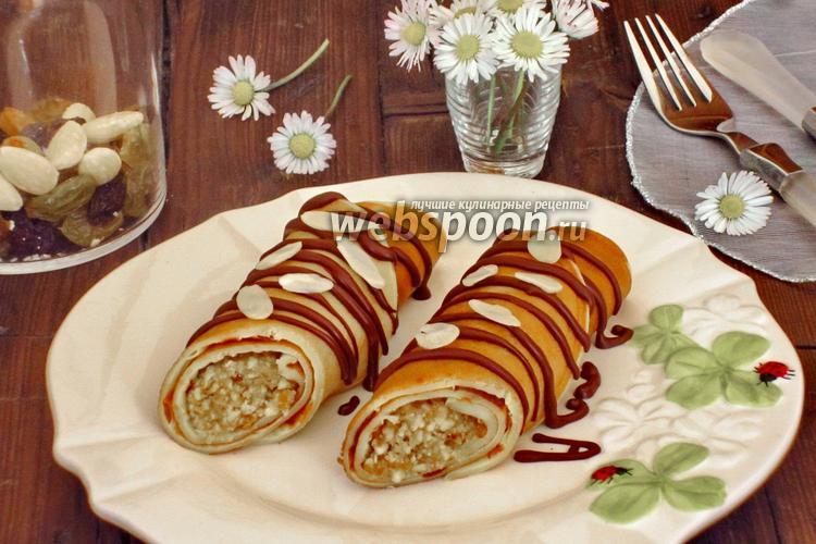Фото Блинчики на коньяке с ореховой начинкой