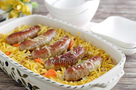 Макароны запечёные с колбасой