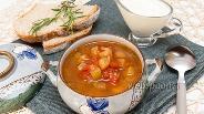 Фото рецепта Томатный суп с баклажанами и нутом
