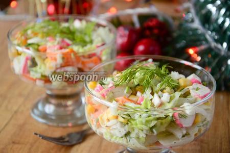 Крабовый салат с пекинской капустой и болгарским перцем
