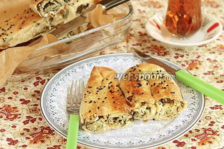 Кол бёрек — турецкий пирог со шпинатом и солёным творогом