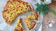 Фото рецепта Острая пицца с говяжьим фаршем и грибами