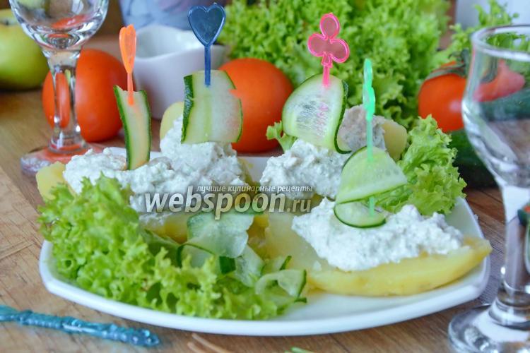 Рецепт Картофельные лодочки с крабовыми палочками и творогом