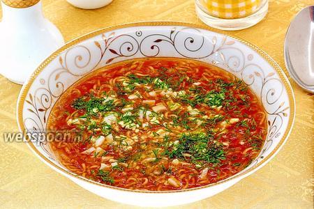 Суп из помидоров и вермишели быстрого приготовления