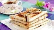 Фото рецепта Треугольники из лаваша с творогом, сыром и зеленью