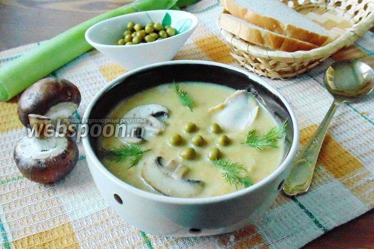 Фото Суп с консервированным зелёным горошком