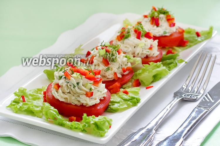 Фото Закуска из помидор с творожным сыром и зеленью