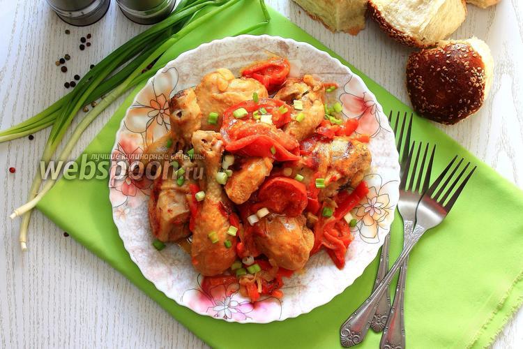 Фото Куриные голени с горчицей и сладким перцем в мультиварке