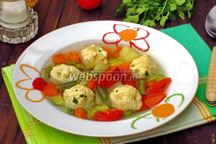 Фото Овощной суп с фрикадельками из индейки