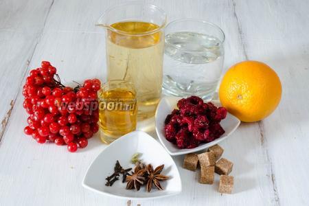 Чтобы приготовить глинтвейн, нужно взять: воду, калину, малину, пряности, апельсин, сахар, белое вино, ром.
