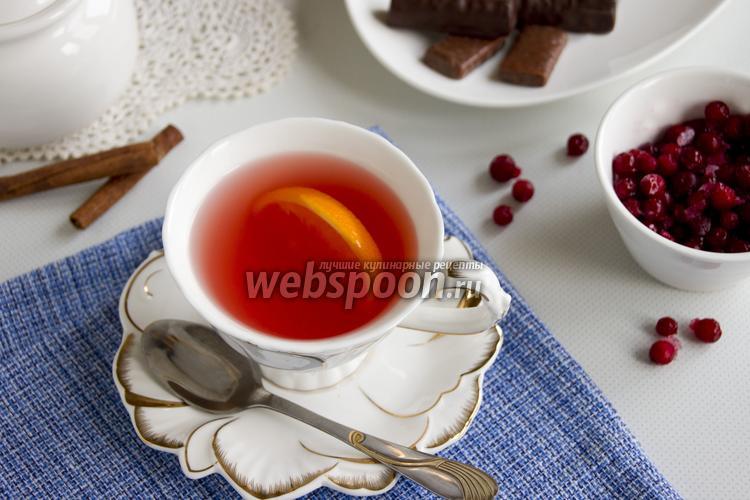 Фото Зелёный чай с апельсином и брусникой
