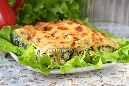 Фото рецепта Каннеллони с рикоттой и шпинатом
