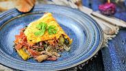 Фото рецепта Омлет из мангольда, шампиньонов и мостбрёкли