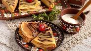 Фото рецепта Молочные блины с яблочно-вишнёвой начинкой