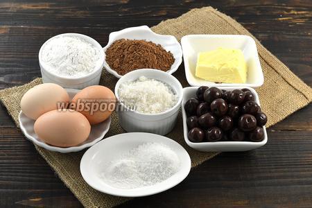 Для работы нам понадобится сливочное масло, мука, сахар, какао, разрыхлитель, яйца, ванильный сахар, консервированная вишня.
